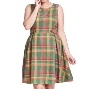 Modcloth Plaid Cotton Linen Dress